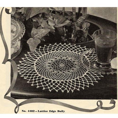 Vintage lattice edge crochet doily pattern