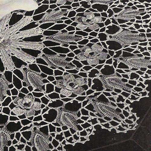 Shell Bordered Wild Rose Crochet Doily Pattern