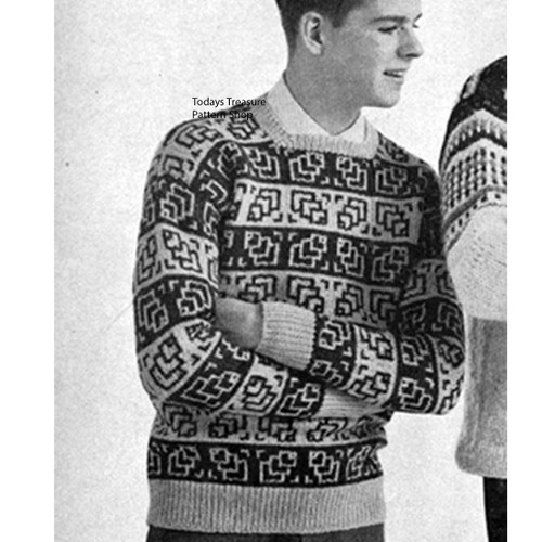 Mans Leaf Print Geometric Knitted Pullover Pattern