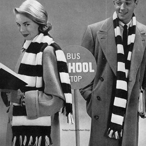 Vintage Knitting Pattern for Free Striped Scarf
