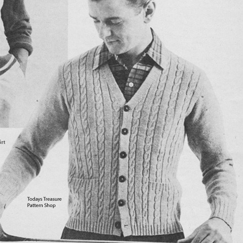 Mens Knitting Pattern for Cable Front Cardigan