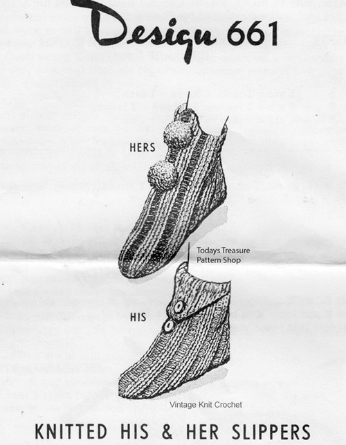 Knitted Hi-top Slippers Pattern, Mail Order 661