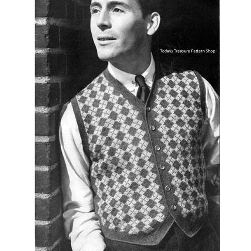 Vintage Harlequin Mans Knitted Vest Pattern
