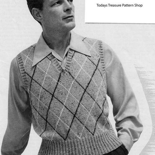 Argyle Sleeveless Pullover Knitting Pattern for Men