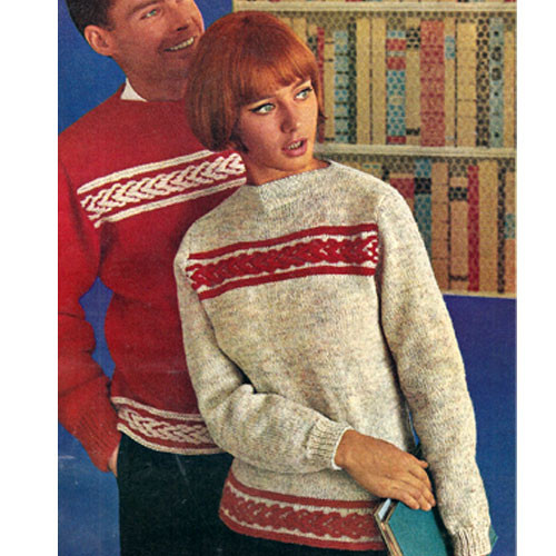 Mans Knitting Pattern for Striped Band Pullover
