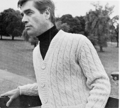 Long Cable Cardigan Knitting Pattern for Men, Vintage 1960s