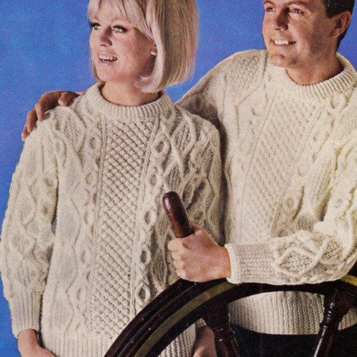 Irish Fisherman Knitted Pullovers Pattern, His & Hers