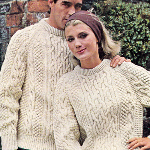 Mans Knitted Cable Pullover Pattern, Vintage 1960s from Bernat