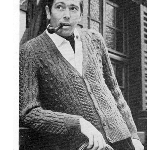 Mans Knitted Aran Cardigan Pattern from American Thread