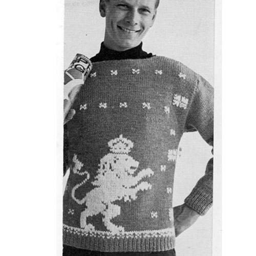 Vintage Lion Pullover Knitting Pattern, Vintage 1960s