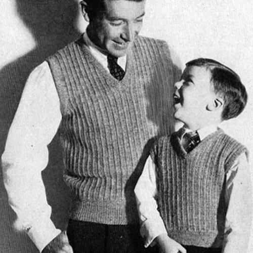 Ribbed Sleeveless Pullover Knitting Pattern for men boys