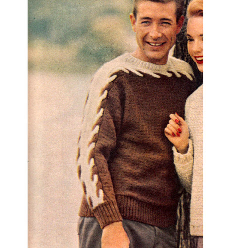 Mans Knitting Pattern for Cable Sweater in Two Colors