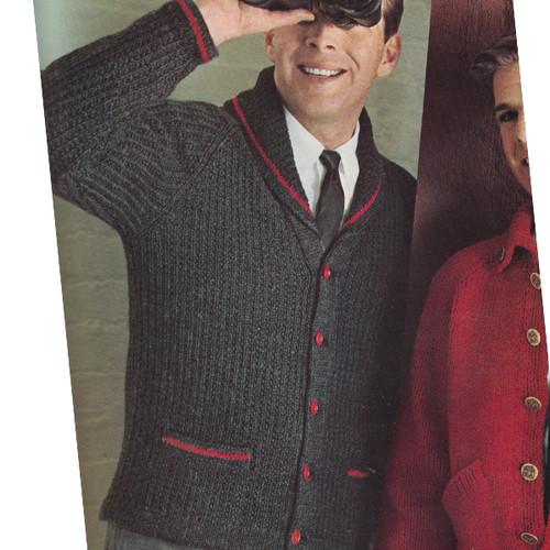 Mens Vintage Knit Cardigan Pattern with Raglan Sleeves