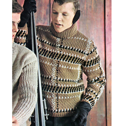 Knitted Turtleneck Ski Sweater Pattern for Men