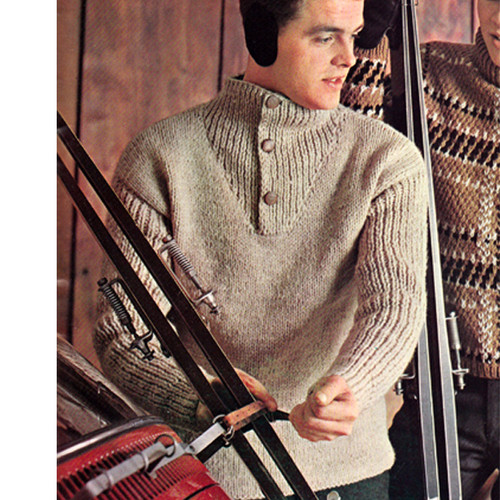 Mans Knitted Pullover Pattern with button band