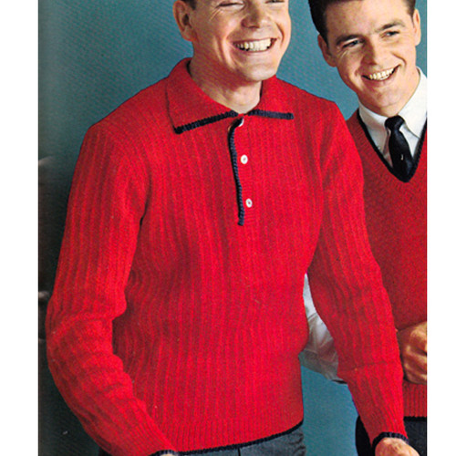 Vintage Knitting Pattern, Collared Pullover for Men