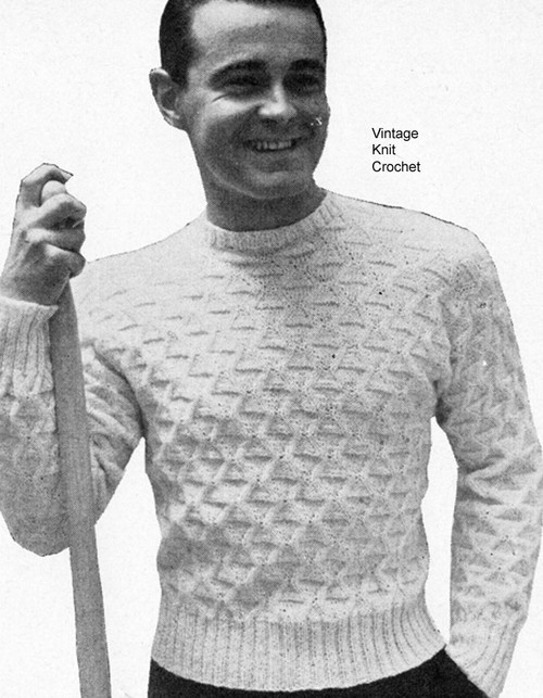 Mans Easy Knit Pullover Pattern, Vintage 1950s