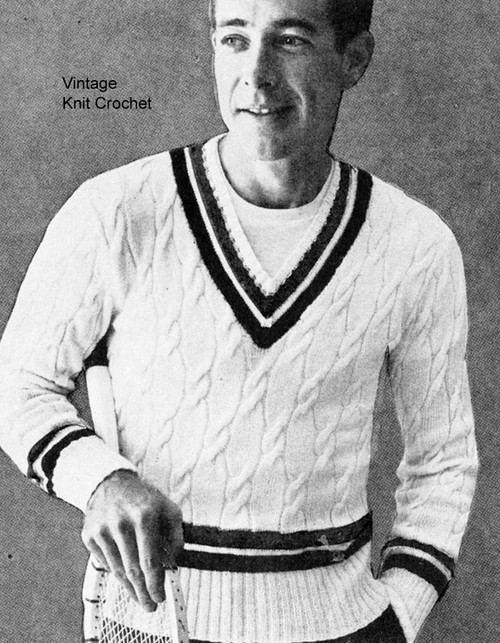 Vintage Tennis Sweater Knitting Pattern, Cable Stitch