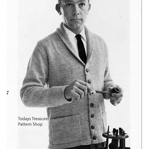 Collared Cardigan Knitting Pattern for Men, Vintage 1960s