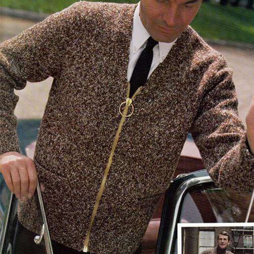 Vintage Zipper Jacket Knitting Pattern, Vintage 1960s