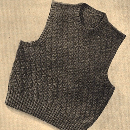 Mans Diagonal Stitch Sleeveless Knitted Pullover