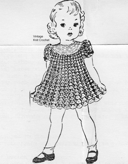 Childs Crochet Dress Pattern, Shell Stitch