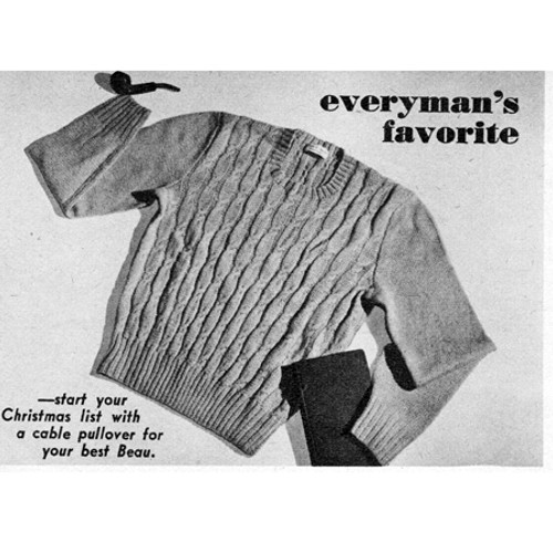 Classic Cable Pullover Mans Knitting Pattern