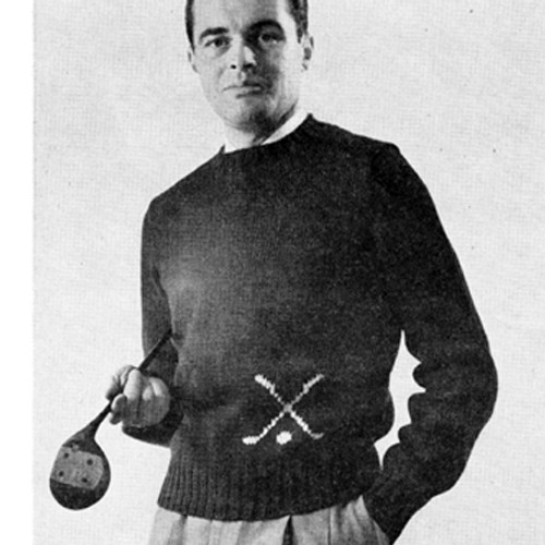 Vintage Knitted Golf Motif Sweater Pattern