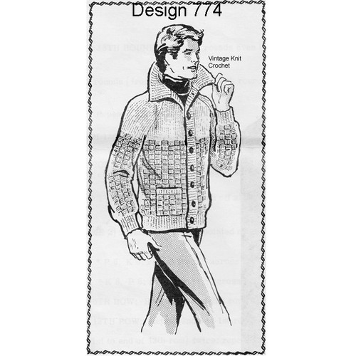 Mans Knitted Jacket Pattern, Laura Wheeler 774
