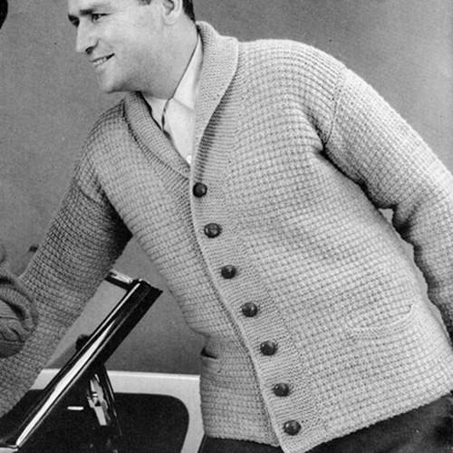 Mans Collared Collar Cardigan Knitting Pattern