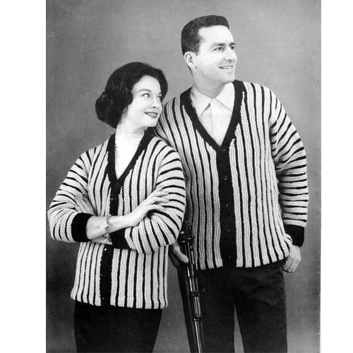 His Hers Striped Cardigan Knitting Pattern
