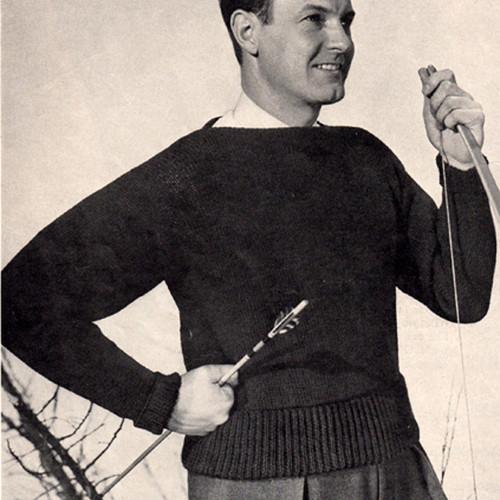 Vintage Knitting Pattern, Mans Boat Neck Pullover