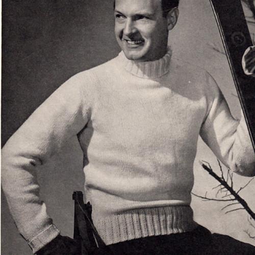 Knitting Pattern, Mens Turtleneck Sweater