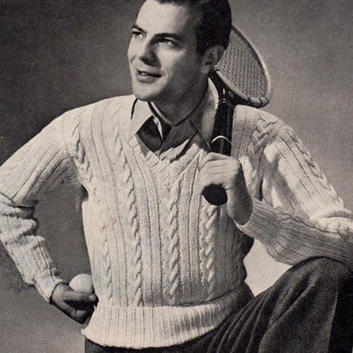 Knitting Pattern Mans Sleeveless Cable Vest