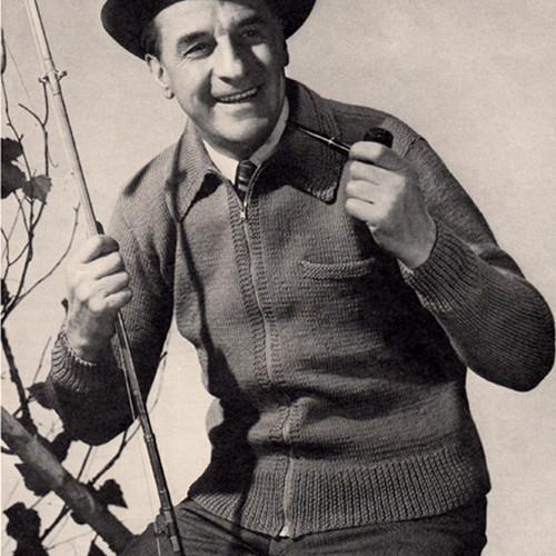 Mans Zipper Jacket Knitting Pattern, Vintage 1950s