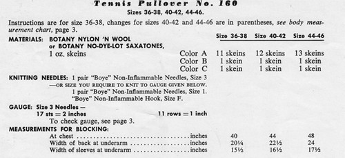 Knitting Requirements for Tennis Sweater