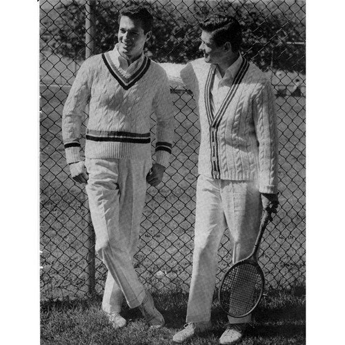 Mans Knitted Tennis Sweater & Cardigan Pattern