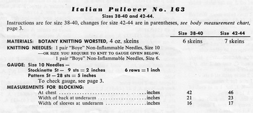 Knitting Requirements for Italian Pullover