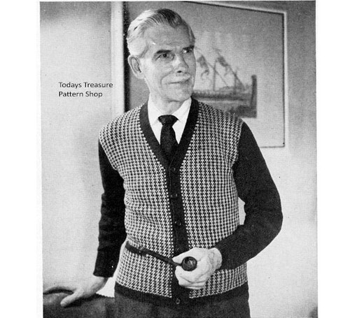Vintage Houndstooth Knitted Cardigan Pattern