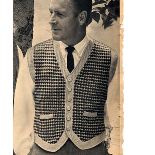 Vintage Knitting Pattern, Mans Tweed Vest with Shaped Hemline