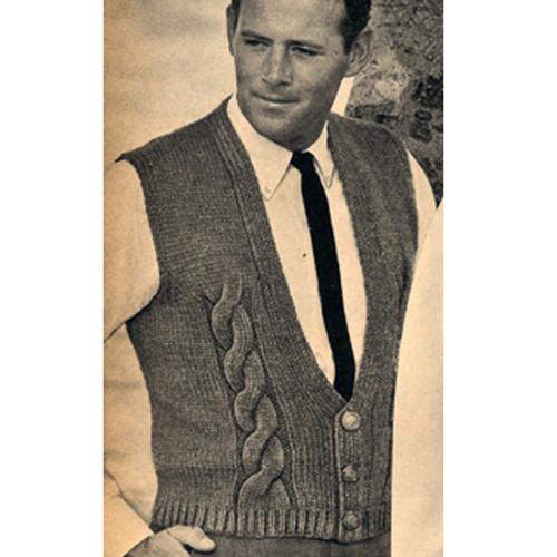 Vintage Knitting Patterns Mans Cable Vest Pattern