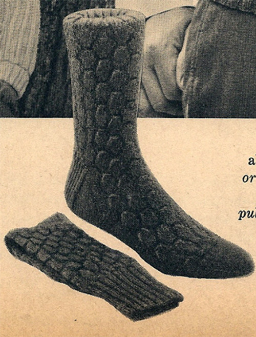 Vintage Knitting Pattern Mens Block Socks