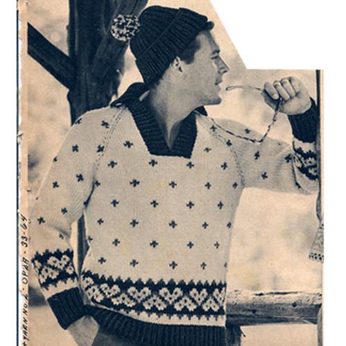 Motif Ski Sweater Knitting Pattern for Men