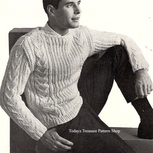 Knitted Cable Pullover Pattern for Men