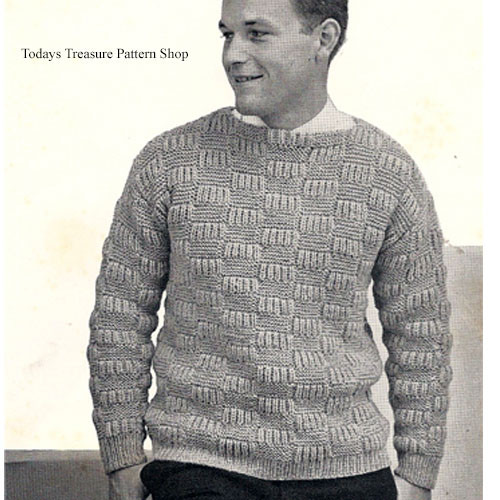 Mans Block Sweater Knitting Pattern from  American Thread