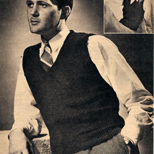 Vintage 1940s Knitted Sleeveless Vest for Men