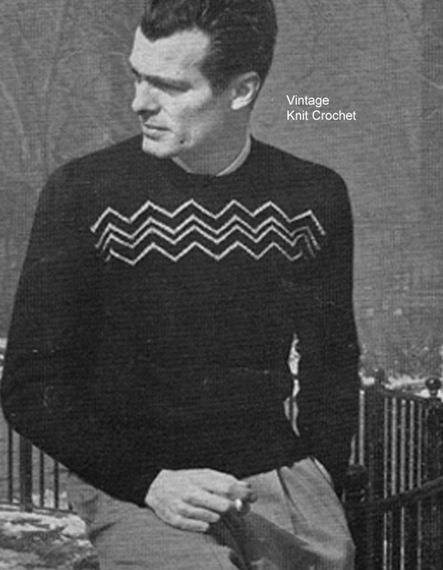 Knitted Pullover Pattern, Mans Size 38 to 44