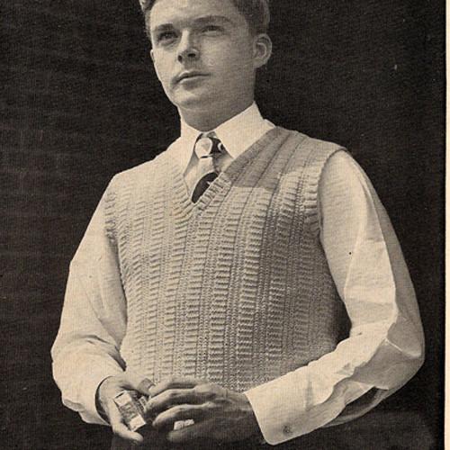 Mans Knitted Sleeveless slip-on pattern