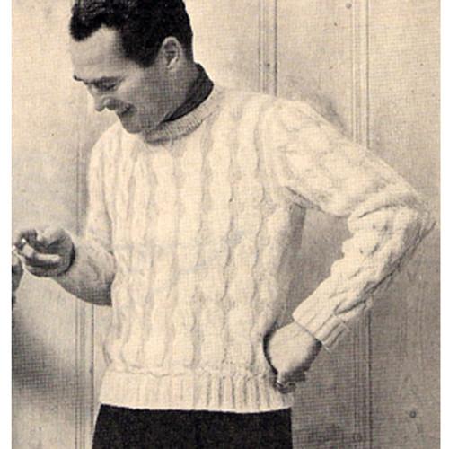 Vintage 1950 Cable Pullover Pattern for Men