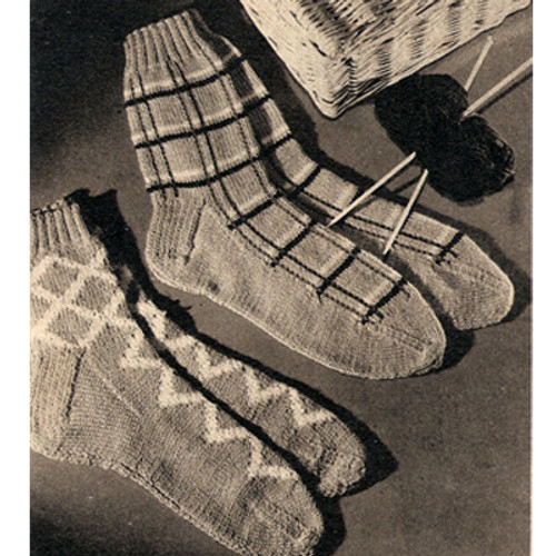 Mans Knitted Plaid Socks Pattern